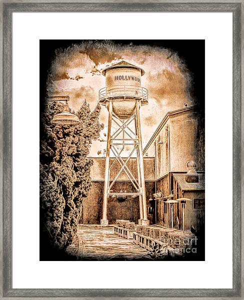 Hollywood Water Tower Framed Print