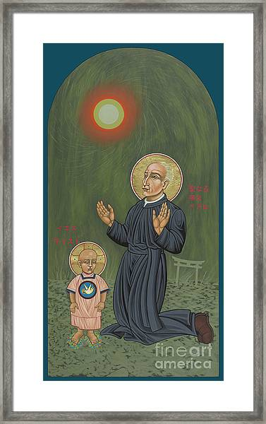 Holy Father Pedro Arrupe, Sj In Hiroshima With The Christ Child 293 Framed Print