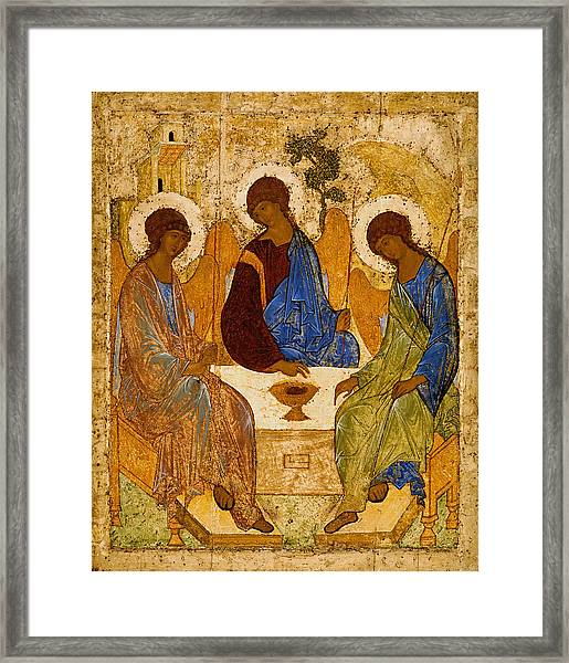 Framed Print featuring the painting Holy Trinity. Troitsa by Andrei Rublev