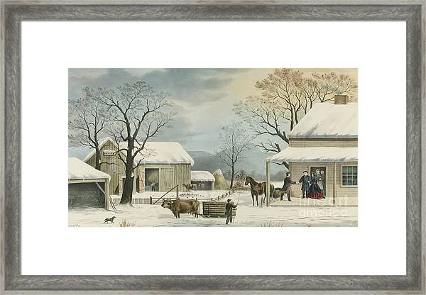 Home To Home To Thanksgiving, 1867 Framed Print