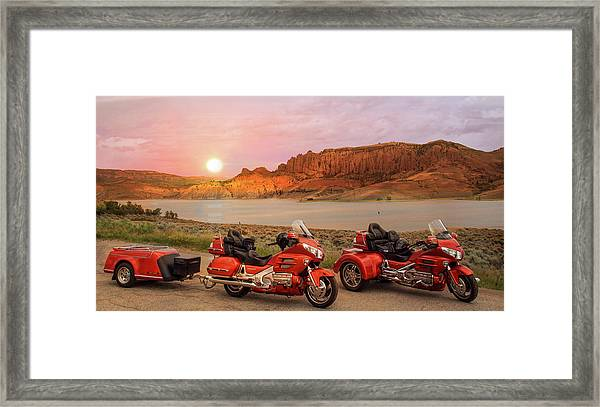 Framed Print featuring the photograph Honda Goldwing Bike Trike And Trailer by Patti Deters