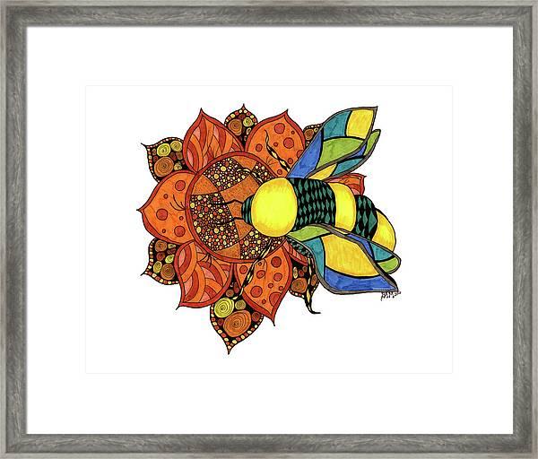 Honeybee On A Flower Framed Print