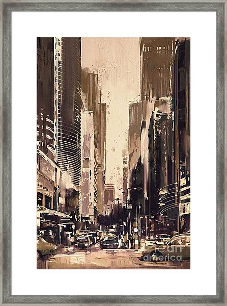 Framed Print featuring the painting Hong-kong Cityscape Painting by Tithi Luadthong