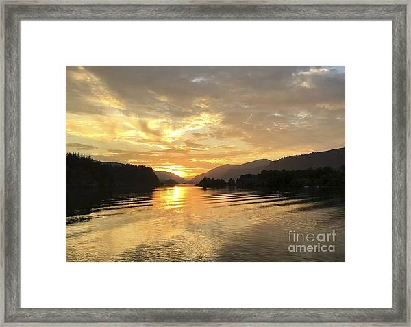 Hood River Golden Sunset Framed Print