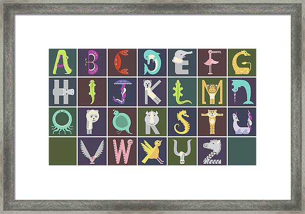 Horizontal Animal Alphabet Complete Poster Framed Print