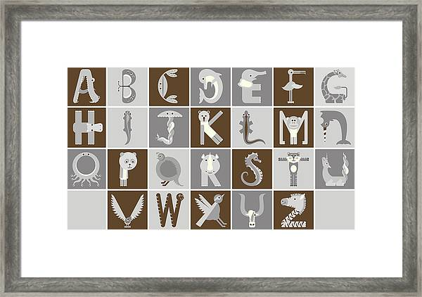 Horizontal Neutral Animal Alphabet Complete Poster Framed Print