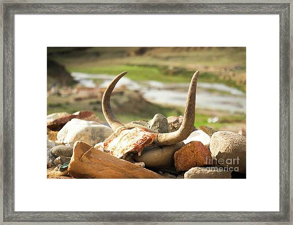 Horn And Valley Tibet Yantra.lv Framed Print