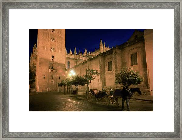 Horse And Carriage Seville Spain Framed Print