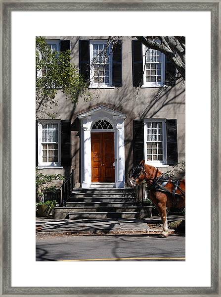 Horse Carriage In Charleston Framed Print