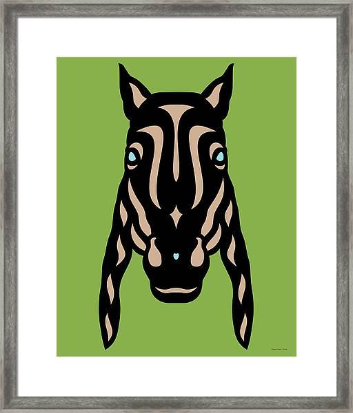 Horse Face Rick - Horse Pop Art - Greenery, Hazelnut, Island Paradise Blue Framed Print