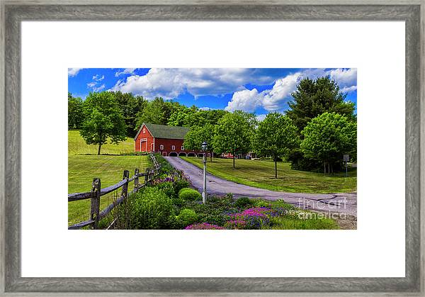 Horse Farm In New Hampshire Framed Print