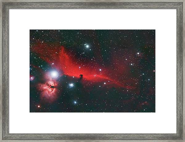 Horse Head And Flame Nebula Framed Print