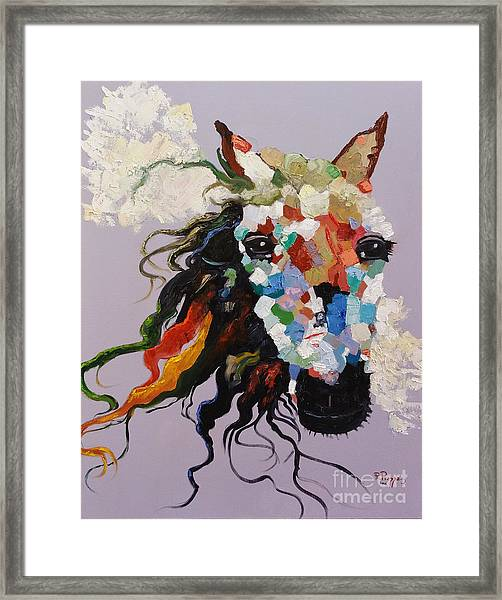 Framed Print featuring the painting Puzzle Horse Head  by Rosario Piazza