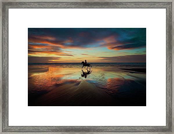 Horse Rider Reflections At Widemouth Beach Framed Print