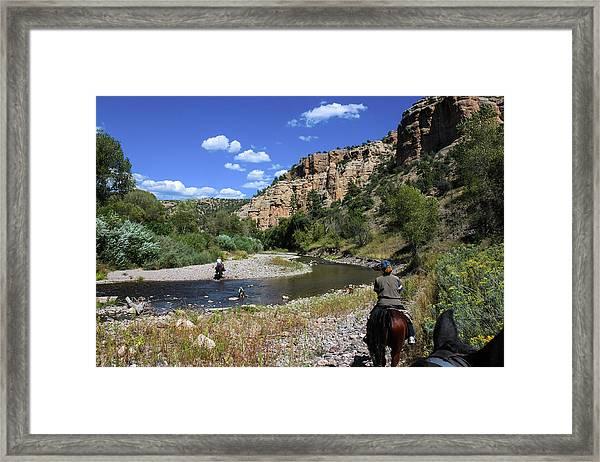 Horseback In The Gila Wilderness Framed Print