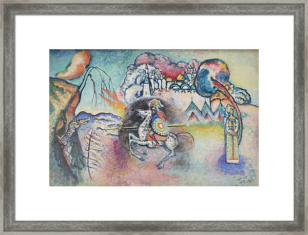 Horseman. St. George Framed Print by Wassily Kandinsky