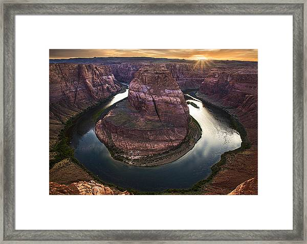 Horseshoe Bend Arizona Sunset Framed Print