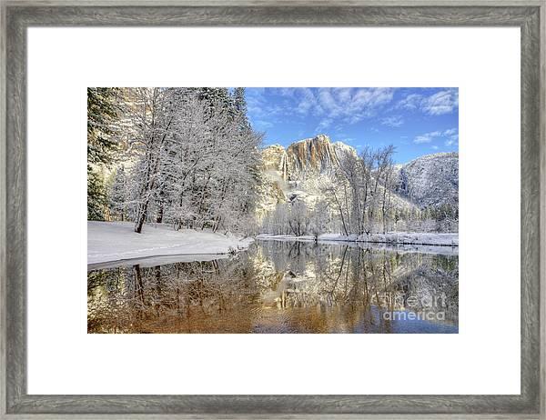 Horsetail Fall Reflections Winter Yosemite National Park Framed Print