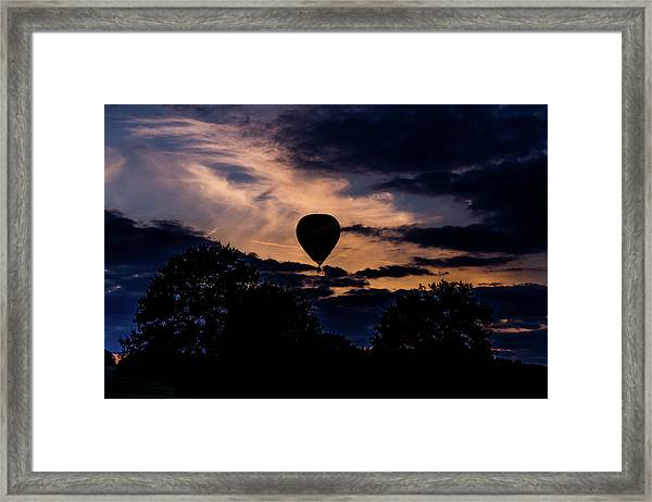 Framed Print featuring the photograph Hot Air Balloon Silhouette At Dusk by Scott Lyons
