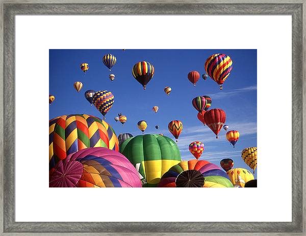 Beautiful Balloons On Blue Sky - Color Photo Framed Print