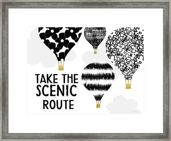 Hot Air Balloons Scenic Route- Art By Linda Woods Framed Print