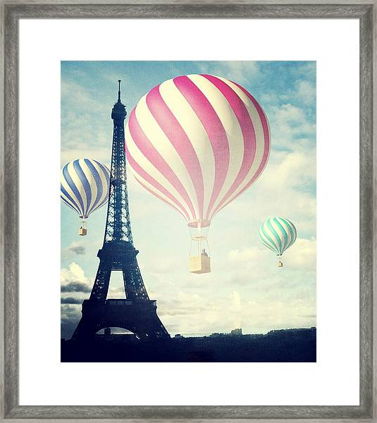 Hot Air Balloons In Paris Framed Print