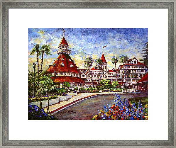 Hotel Del With Flowers Framed Print