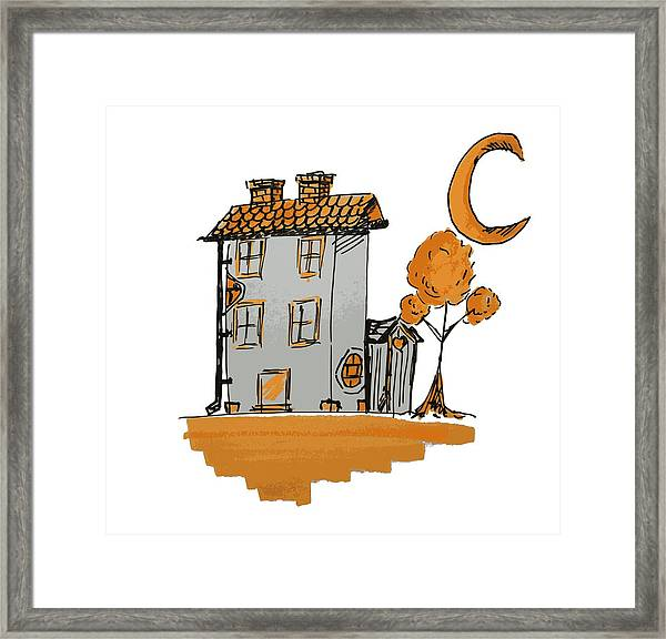 House And Moon Framed Print