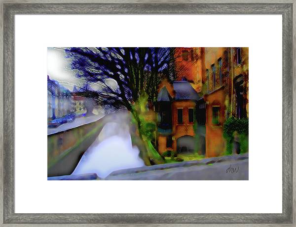 House By A Canal - Bruges Belgium Framed Print