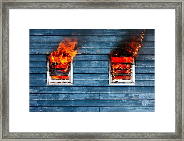 House On Fire Framed Print