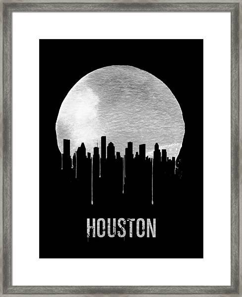 Houston Skyline Black Framed Print