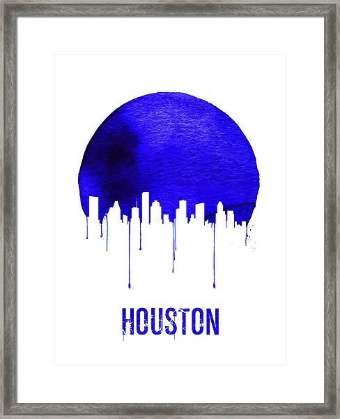 Houston Skyline Blue Framed Print