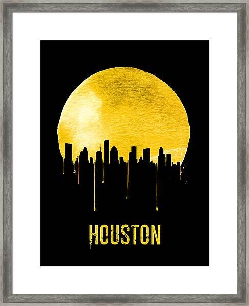 Houston Skyline Yellow Framed Print