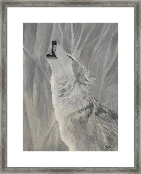 Framed Print featuring the painting Howling Wolf by Kevin Daly