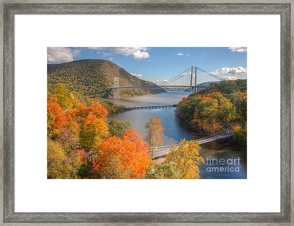 Hudson River And Bridges Framed Print