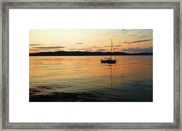Hudson River From Irvington In Westchester County Framed Print