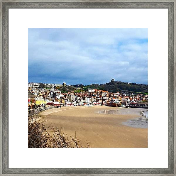 Huge Beach, Cute Town And A Castle Framed Print by Dante Harker