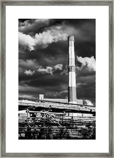 Huge Industrial Chimney And Smoke In Black And White Framed Print
