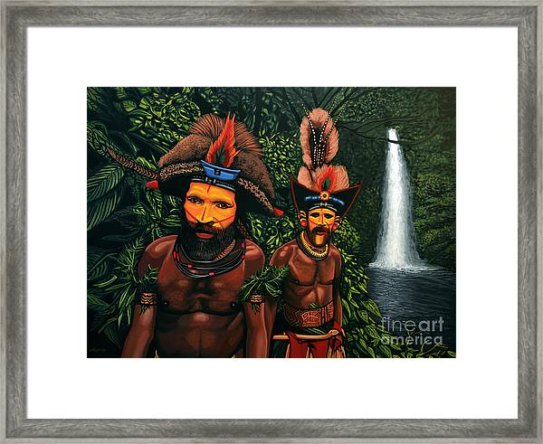 Huli Men In The Jungle Of Papua New Guinea Framed Print