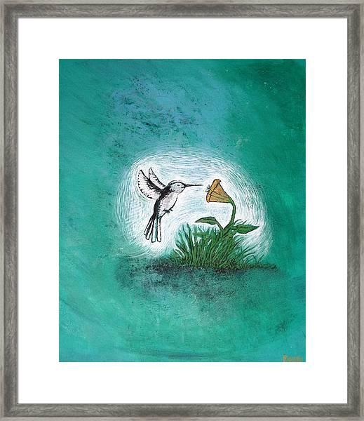 Framed Print featuring the painting Hummingbird by Antonio Romero