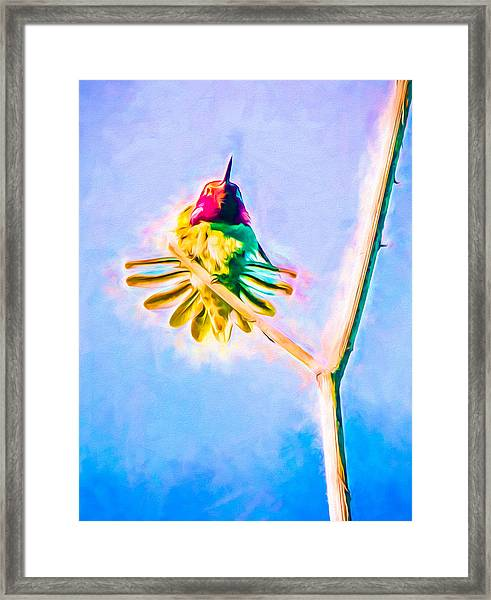 Framed Print featuring the mixed media Hummingbird Art - Energy Glow by Priya Ghose