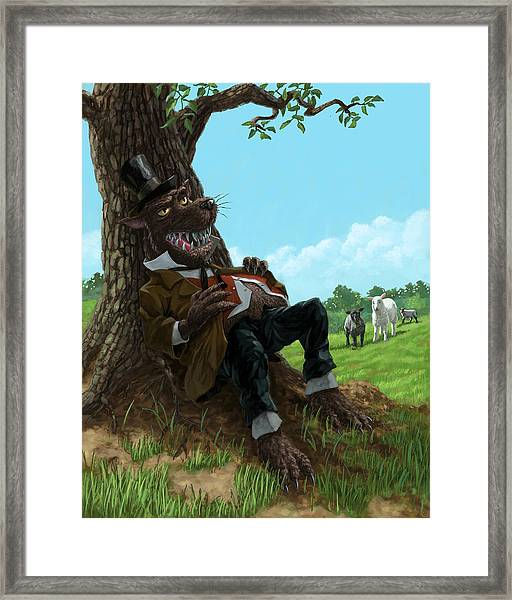 Hungry Bad Wolf In Field With Little Sheep Framed Print