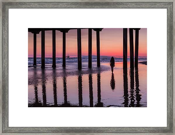 Huntingdon Beach Pier Silhouette At Sunset Framed Print