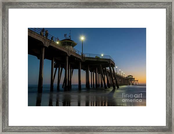 Huntington Beach Pier At Dusk Framed Print