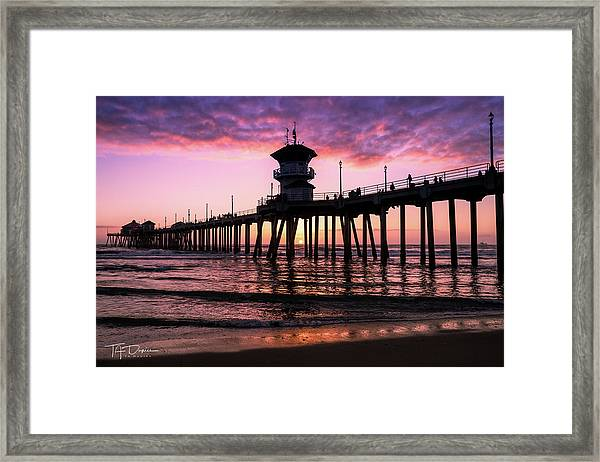 Huntington Pier At Sunset 2 Framed Print