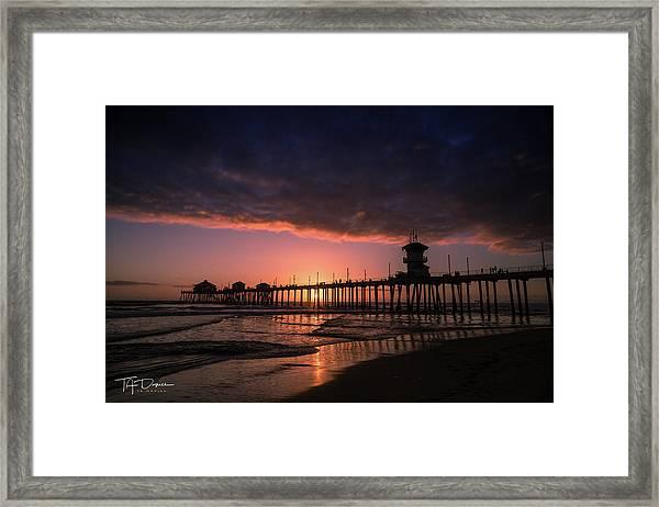 Huntington Pier At Sunset Framed Print