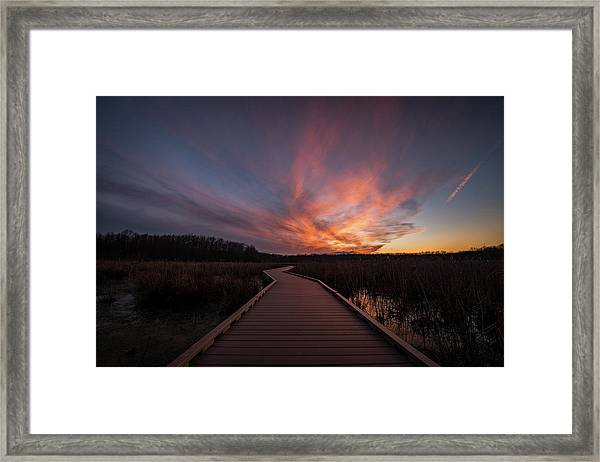 Huntley Meadows Sunset Framed Print by Michael Donahue