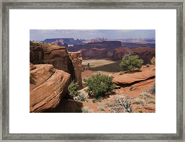 Hunt's Mesa And Monument Valley Framed Print