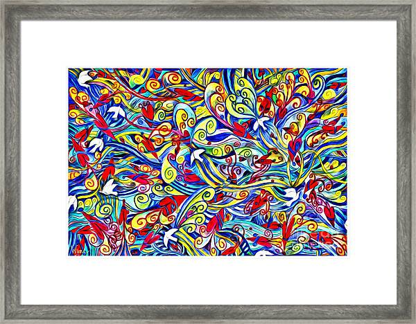 Hurricane Of Doves And Hearts Framed Print