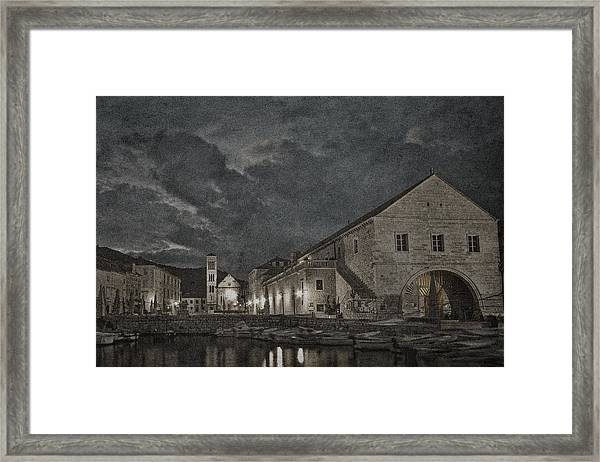 Hvar Town Croatia - Black And White Framed Print